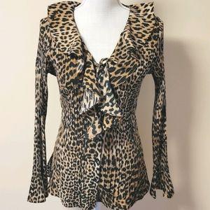 Laura Scott leopard print button down size large